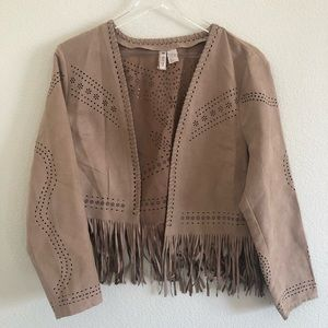Divided by H&M Faux Suede Fringe Jacket Size 12